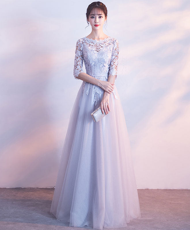 Gray lace tulle long prom dress, gray tulle lace evening dress