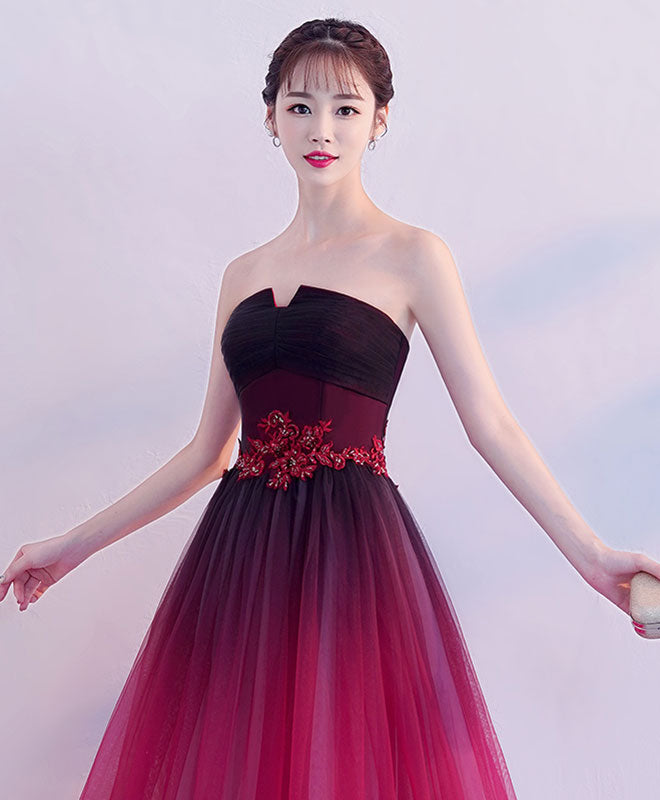 Simple tulle burgundy long prom dress, tulle bridesmaid dress