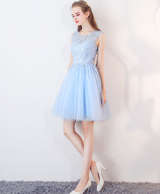 Cute blue tulle lace short prom dress, blue homecoming dress