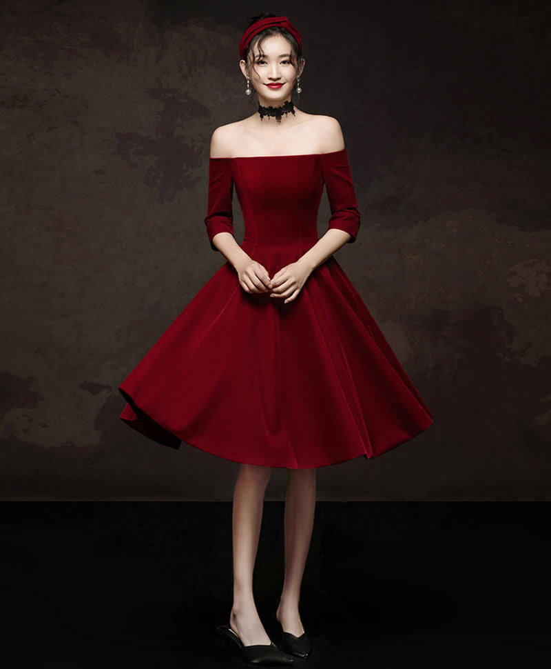 Simple burgundy short prom dress burgundy homecoming dress