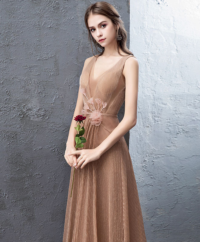 Unique gold v neck tulle long prom dress, gold tulle evening dress