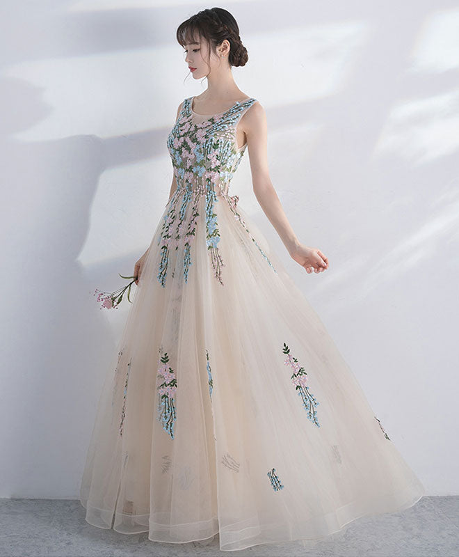 Champagne round neck tulle lace long prom dress, evening dress