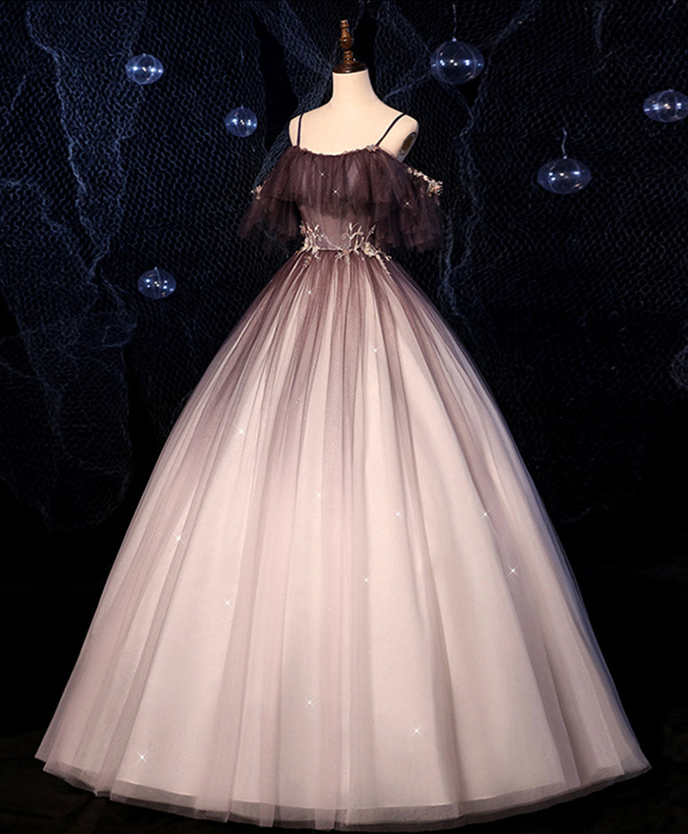 Coffee one shoulder tulle long prom gown, coffee tulle formal dress