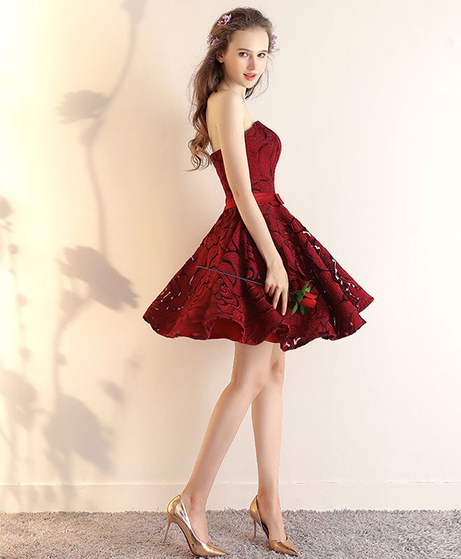 Burgundy lace short prom dress, burgundy short bridesmaid dress