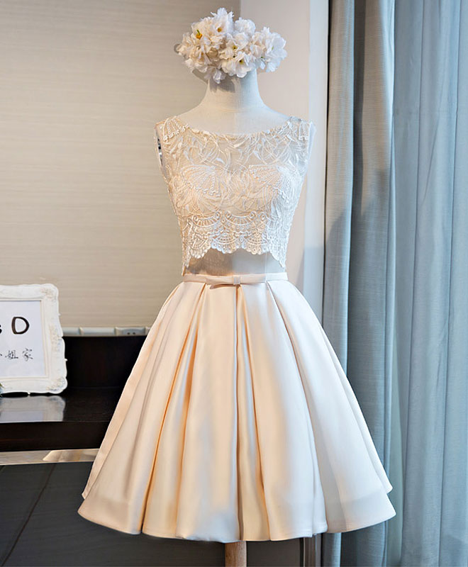 Champagne lace two pieces short prom dress
