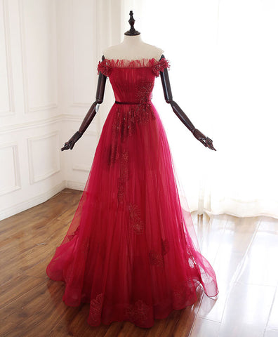 Burgundy v neck tulle lace long prom dress, burgundy tulle bridesmaid dress