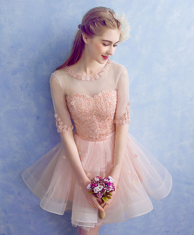 Cute round neck tulle applique short prom dress, pink homecoming dress