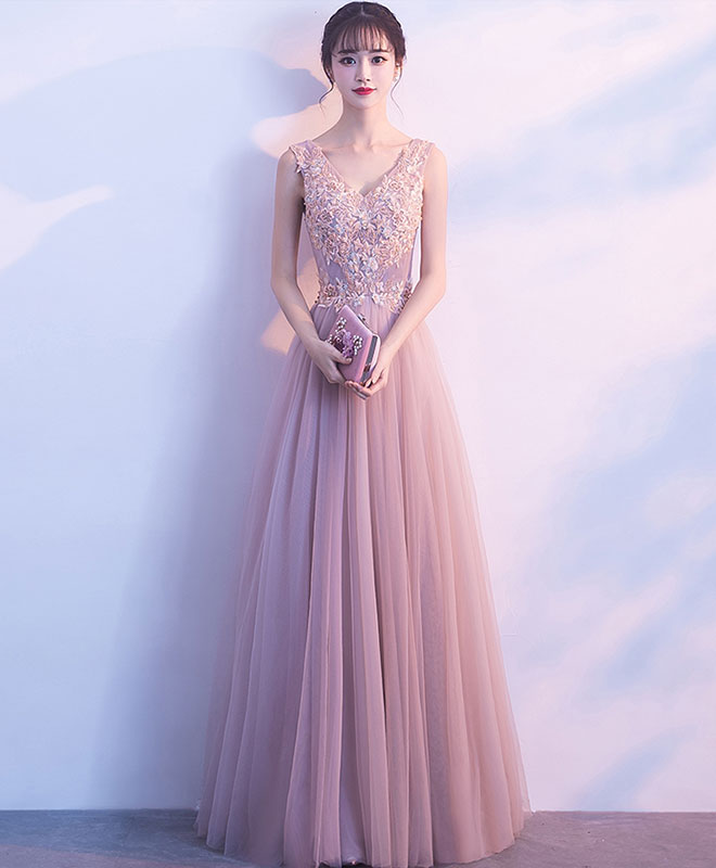 Cute v neck light pink tulle lace long prom dress, tulle long evening dress