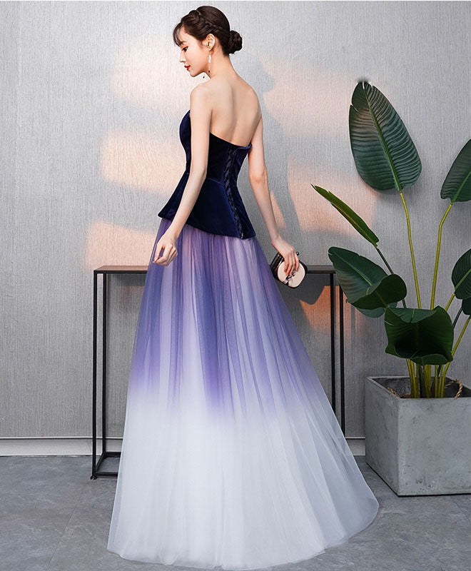 Simple v neck tulle purple long prom dress, purple evening dress