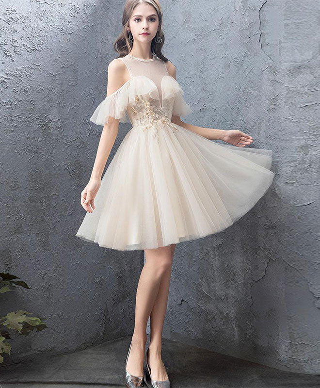 Cute round neck tulle champagne short prom dress, homecoming dress