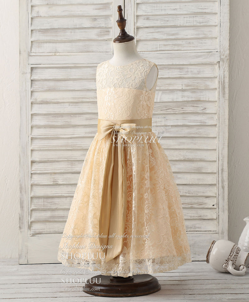 Cute champagne round neck lace flower girl dress
