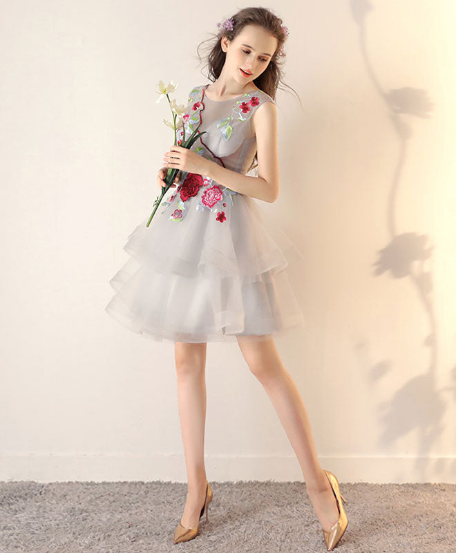 Gray tulle applique short prom dress, gray homecoming dress