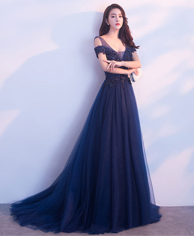 Dark blue tulle long prom dress, blue evening dresses