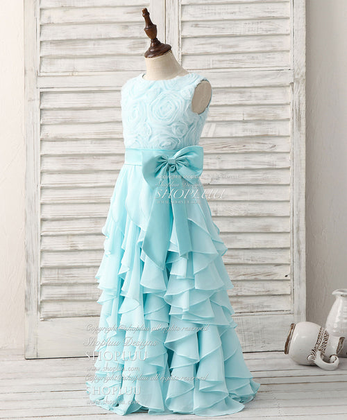 Blue round neck chiffon falbala long flower girl dress