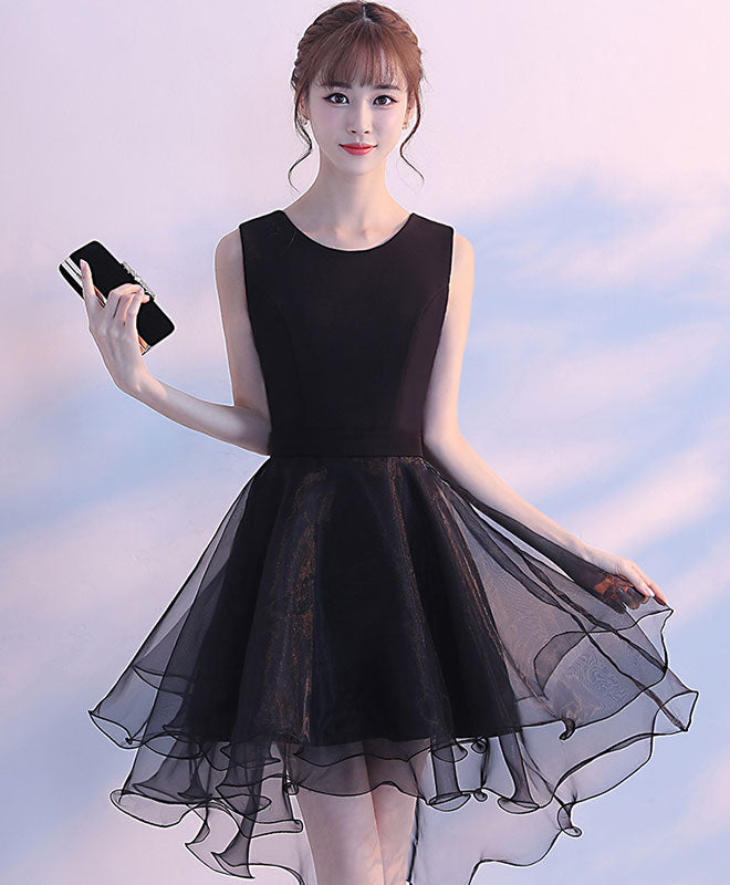 Simple round neck black tulle short prom dress, black homecoming dress