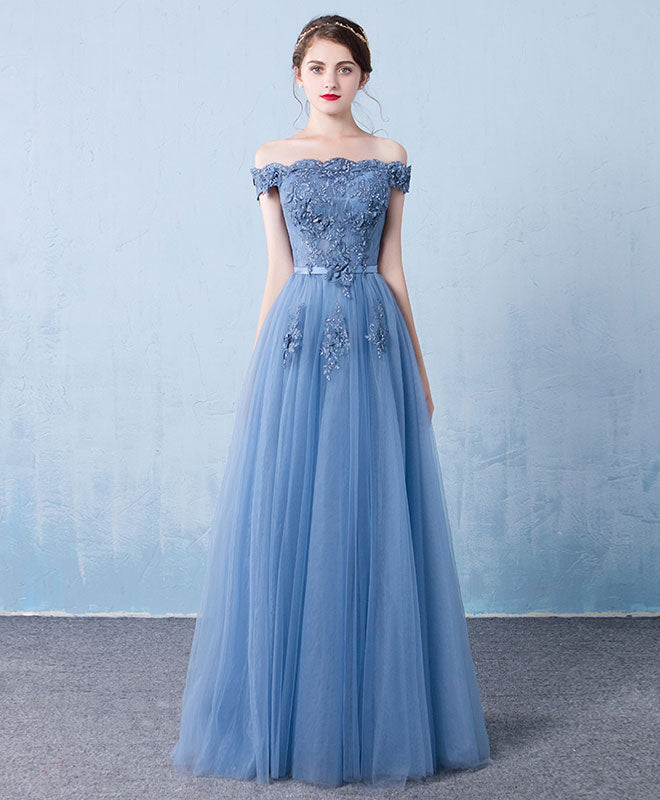 Blue tulle lace off shoulder long prom dress, bridesmaid dress