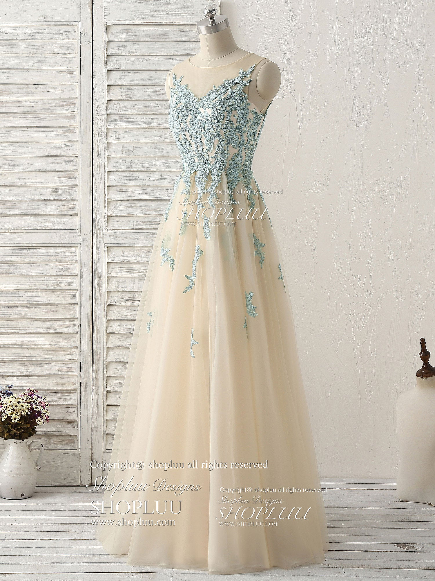 Cute green lace long prom dress tulle bridesmaid dress