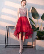 Burgundy tulle round neck sequin short prom dress, burgundy homecoming dress
