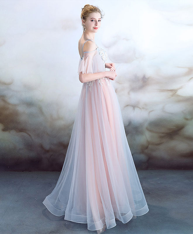 Elegant light pink tulle long prom dress, pink evening dress