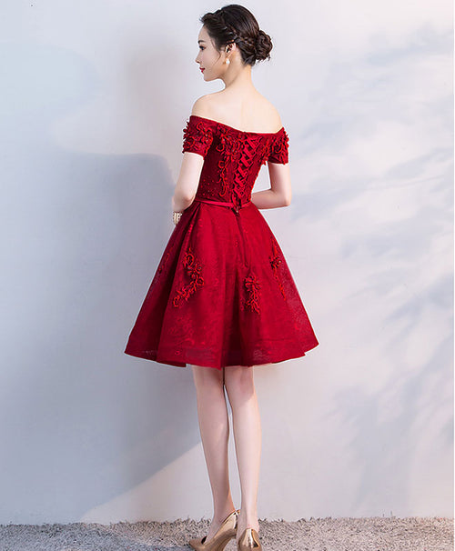 Burgundy sweetheart lace tulle short prom dress, burgundy bridesmaid dress