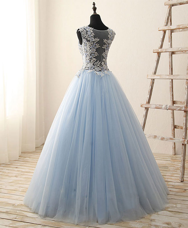 Unique round neck tulle lace long prom dress, evening dress