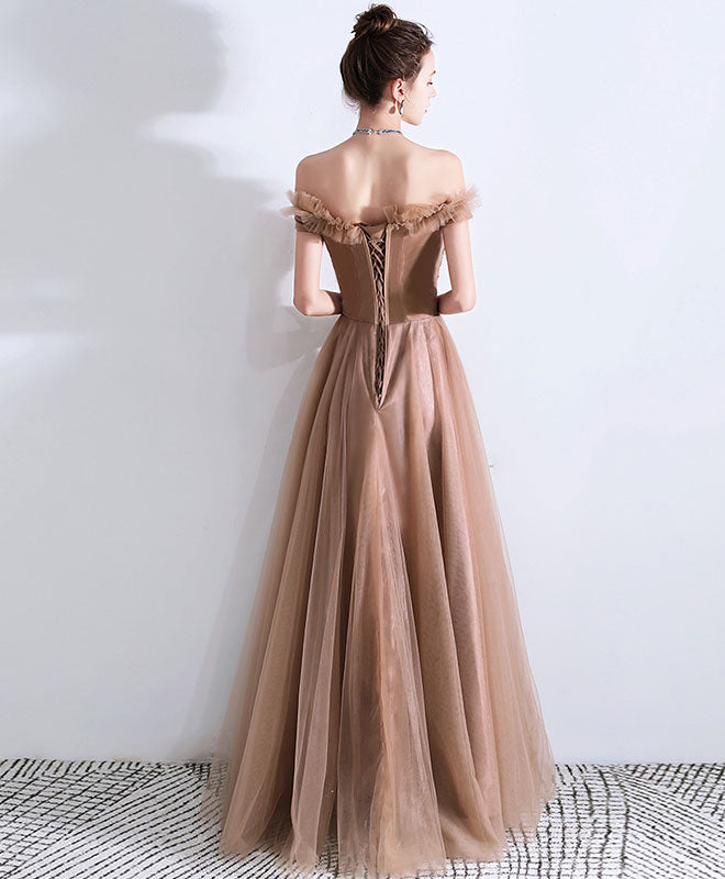 Champagne tulle lace long prom dress, tulle evening dress