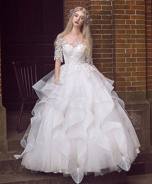 White round neck lace long wedding gown, bridal dress
