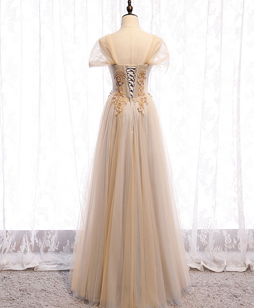 Champagne sweetheart tulle lace long prom dress champagne formal dress