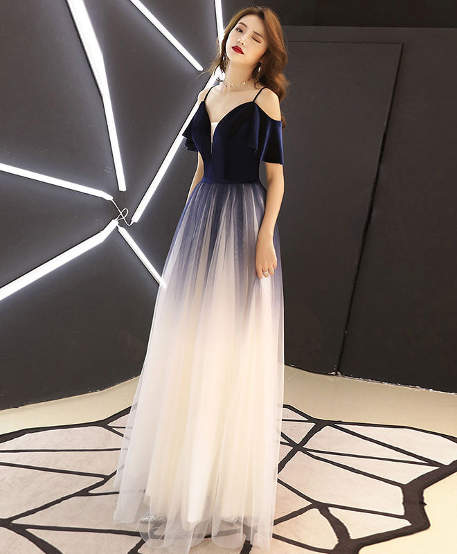 Simple dark blue tulle long prom dress, blue evening dress