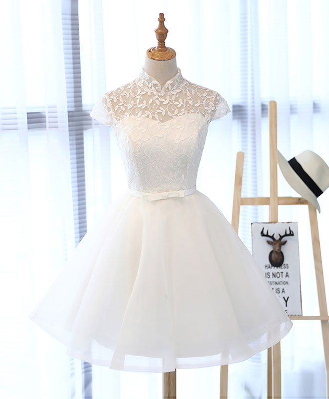 f1a119526ca6c Cute white lace short prom dress, white homecoming dress
