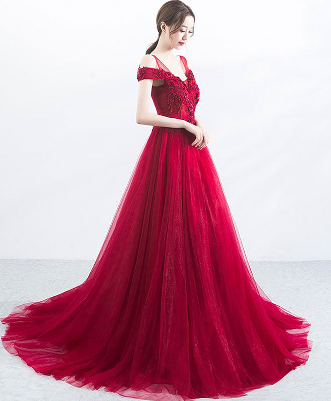 Burgundy v neck tulle lace applique long prom dress, burgundy evening dress