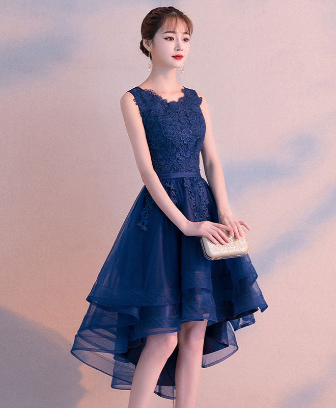 Dark blue tulle lace short prom dress, blue tulle lace bridesmaid dress