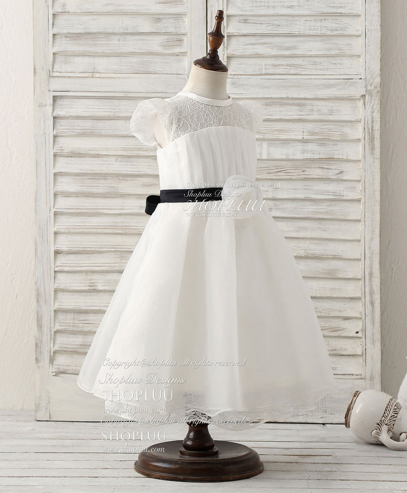 White lace organza short flower girl dresses