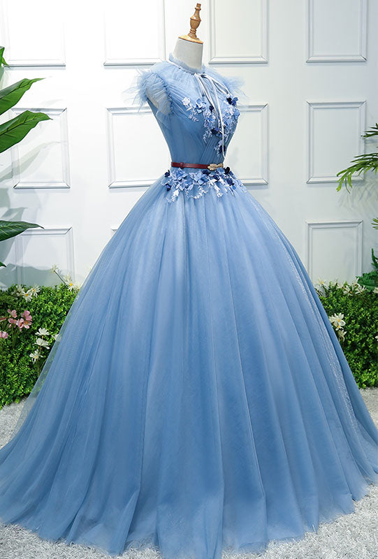 Blue high neck tulle blue long prom dress, blue evening dress
