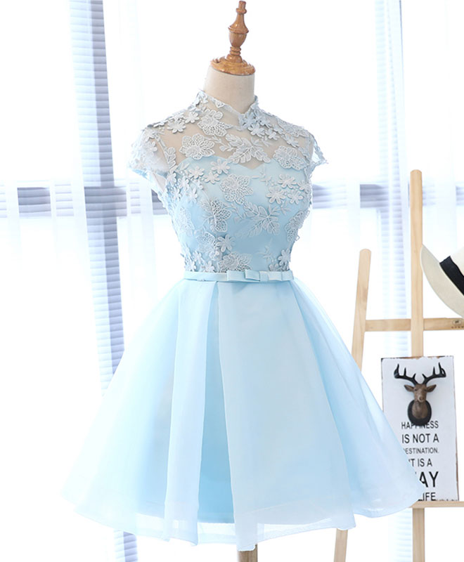 Cute blue lace tulle short prom dress. cute homecoming dress