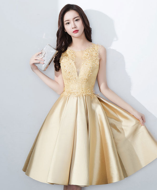 Cute round neck lace satin short prom dress, lace homecoming dress