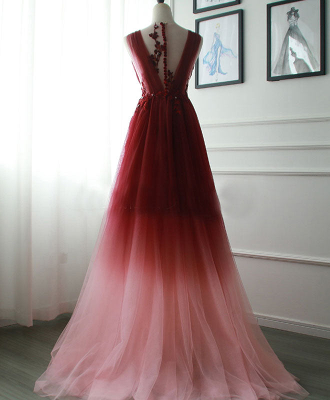 Burgundy v neck tulle long prom dress burgundy evening dress