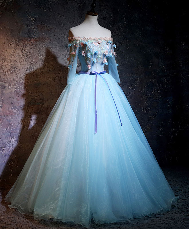 Blue organza applique long prom dress, blue sweet 16 dress