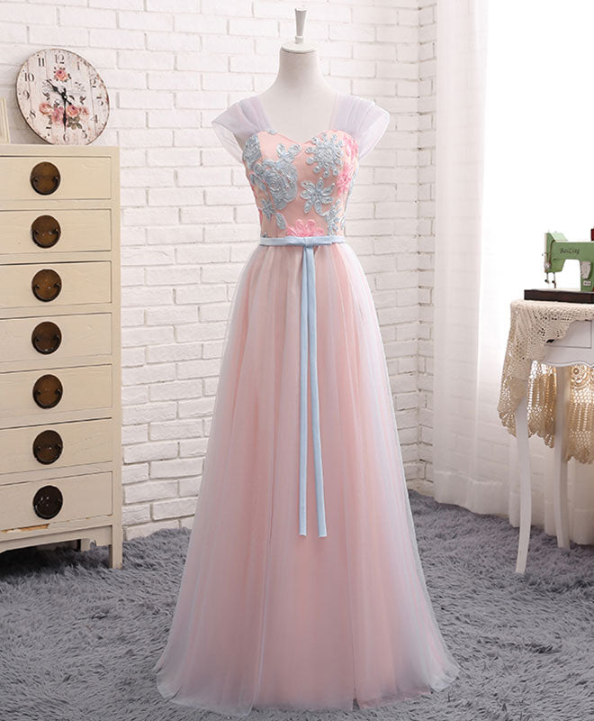 Pink A line sweet neck lace tulle long prom dress, evening dress