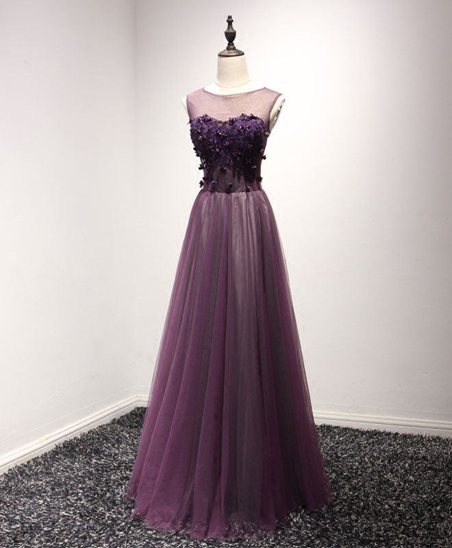 Purple tulle lace round neck long prom dress, purple evening dress