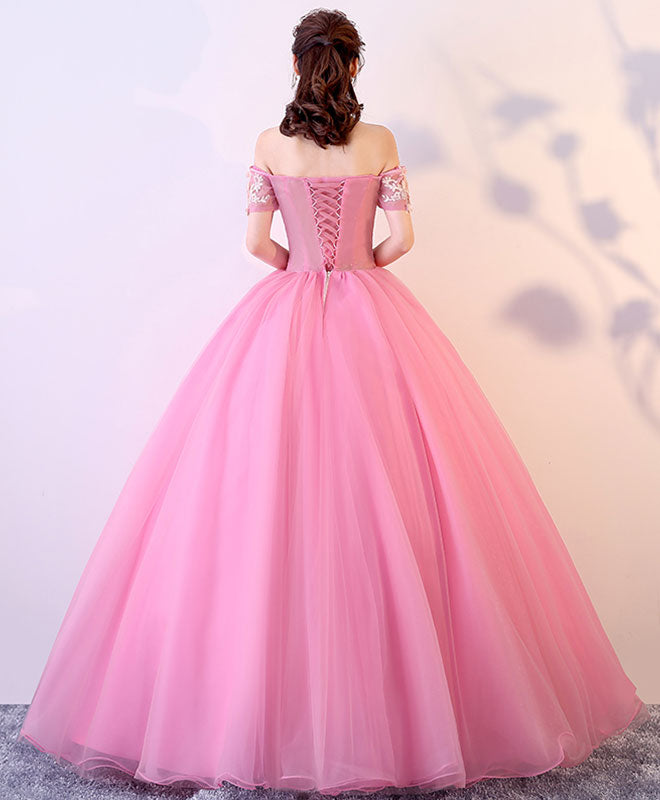 Pink tulle lace long prom dress, pink lace sweet 16 dress