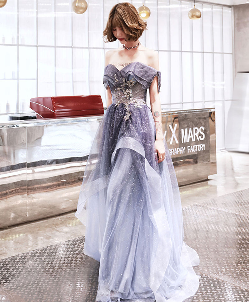 Purple sweetheart tulle long prom dress purple evening dress