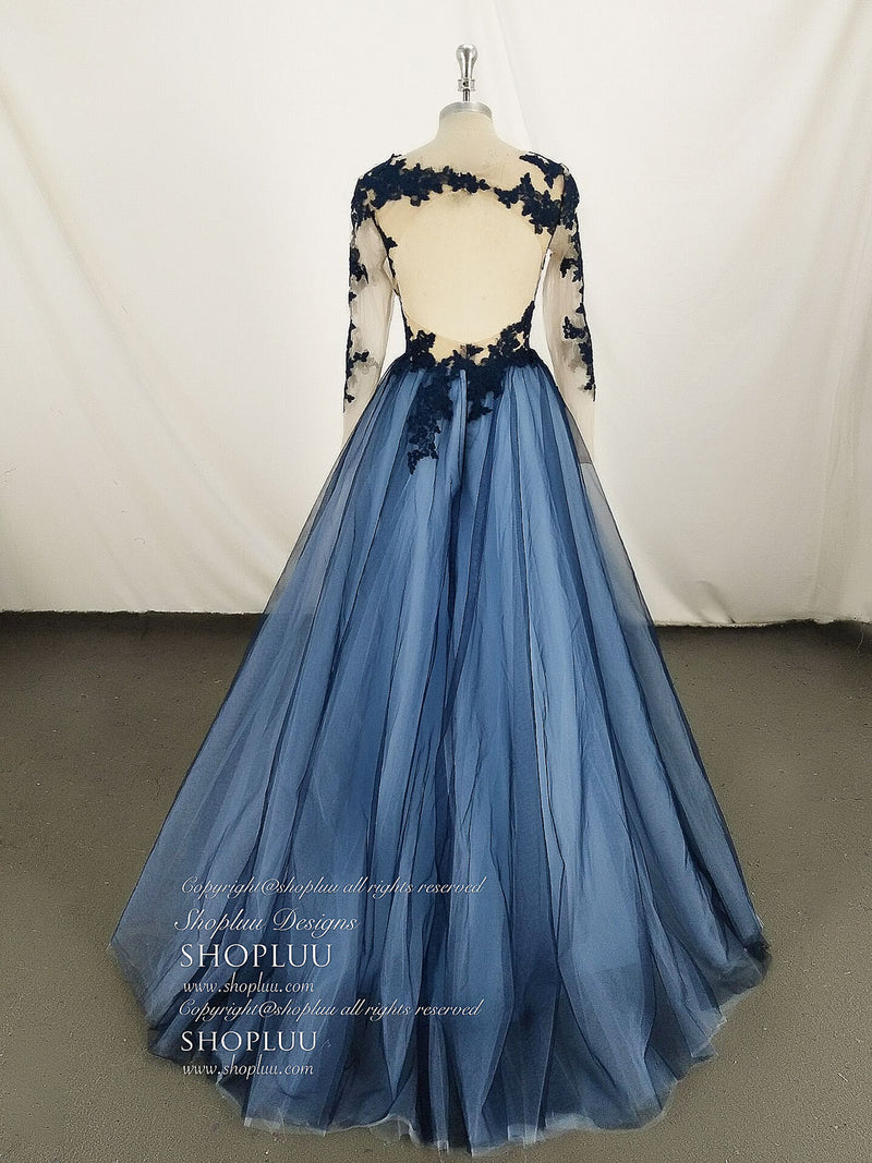Blue tulle round neck lace long prom dress, blue evening dress