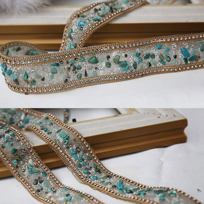 Turquoise hand-made diamond belt, fashion belt