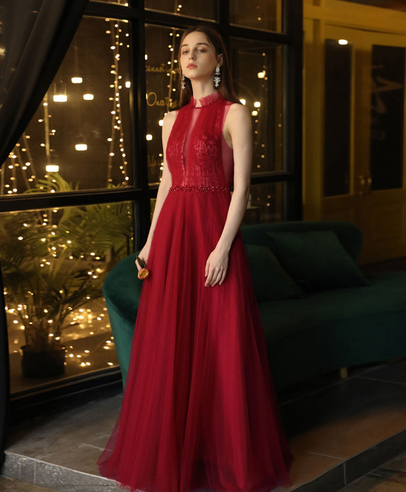 Burgundy high neck tulle lace long prom dress burgundy evening dress