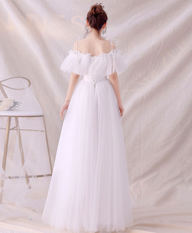 White tulle long prom dress, white tulle lace evening dress