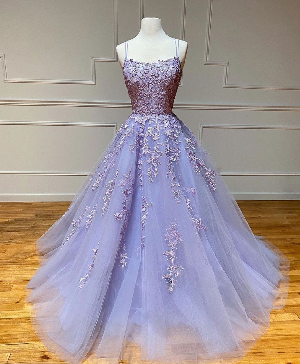 Champagne tulle lace long prom gown, lace tulle formal dress