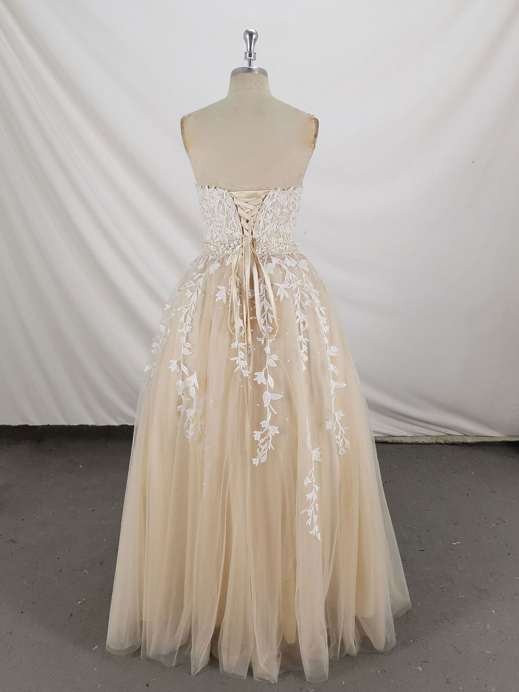 Champagne sweetheart tulle lace long prom dress lace formal dress