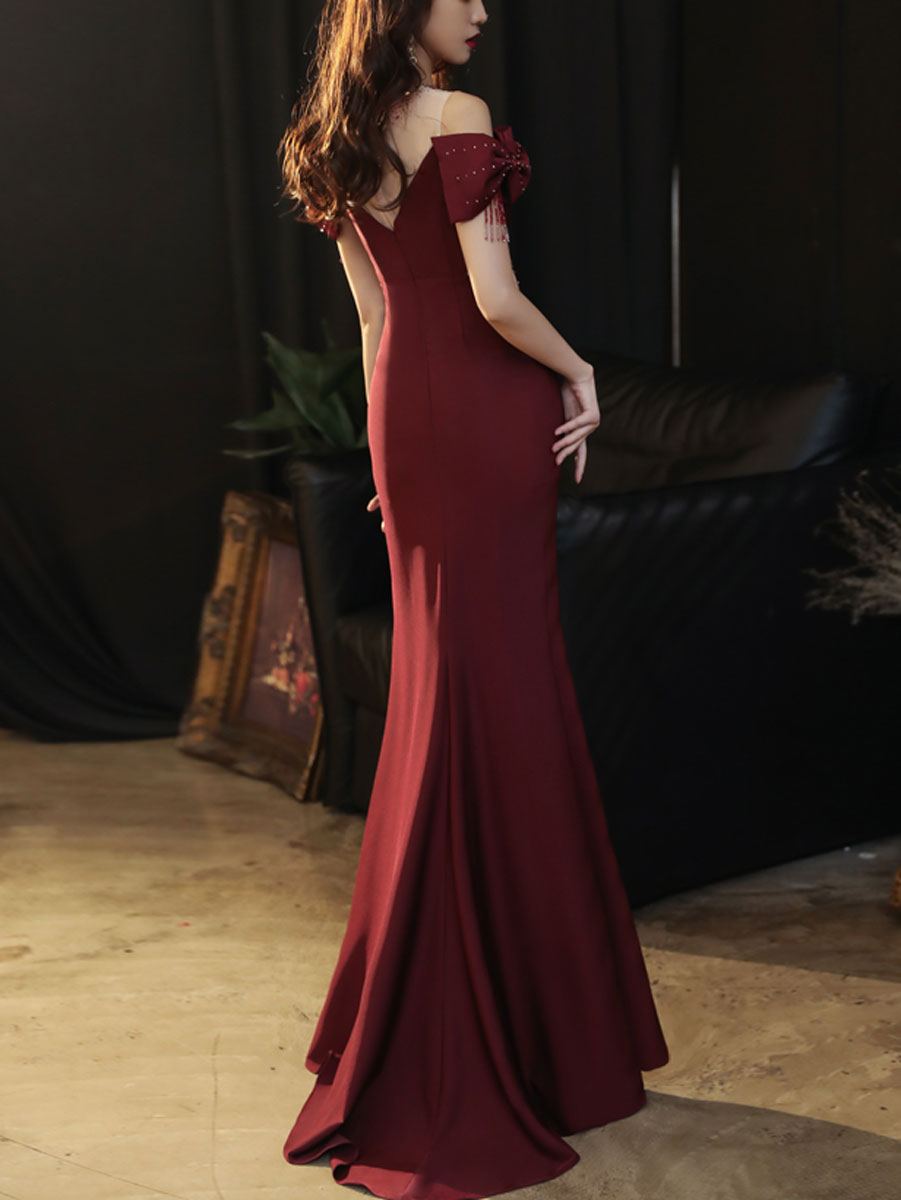 Burgundy round neck satin mermaid long prom dress burgundy formal dress