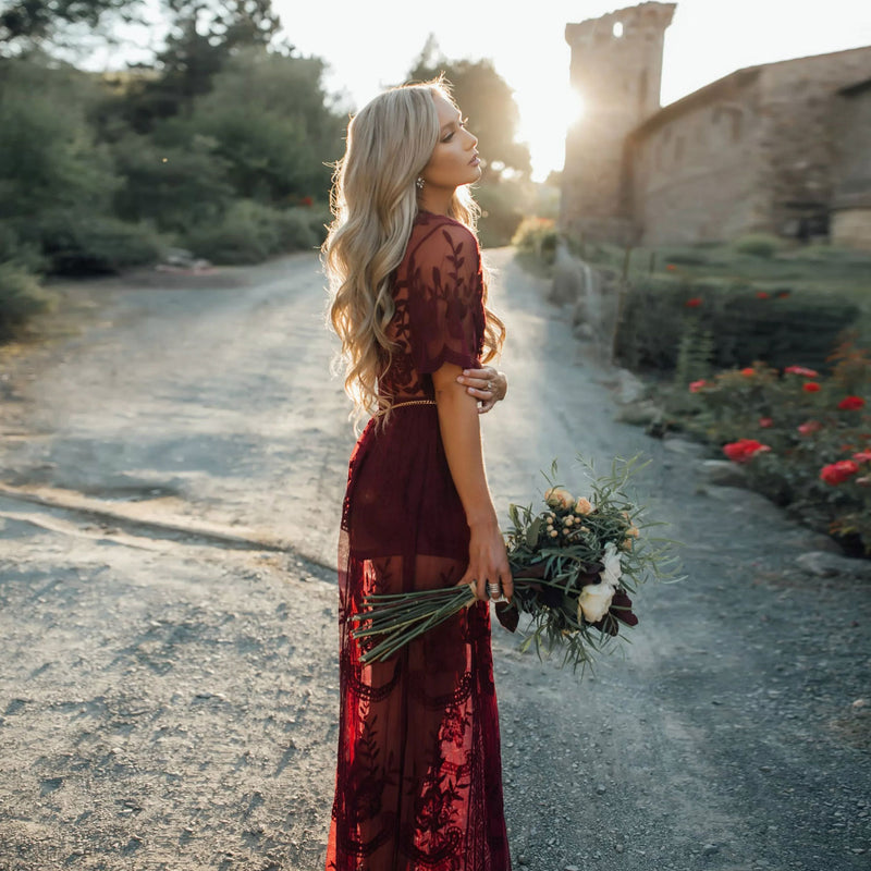 Lace Maxi Dress Women Burgundy Chiffon Plunging Split Long Dress